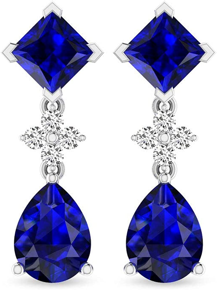 Pendientes de gota de zafiro azul con certificado SGL princesa pera de 3,50 quilates, IJ-SI Diamond Cluster Boda Novia pendientes, septiembre de piedra natal madre pendientes, tornillo hacia atrás