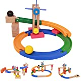 Cocal Coasters Magnetic Blocks Construction Labyrinth Balls Pipeline Track Building Blocks Educational Toys for Kids/Toddlers/Children with Wheels