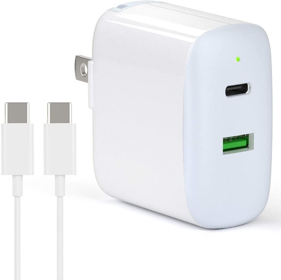 USB C Fast Charger, 30W 2 Port Charger with 18W USB-C Power Adapter for 2020/2018 iPad Pro 12.9 11, Pixel 2 3 4 XL 2XL 3XL 4XL Galaxy S9 S8, Foldable PD 3.0 Wall Charger with 6.6ft USB C to C Cable