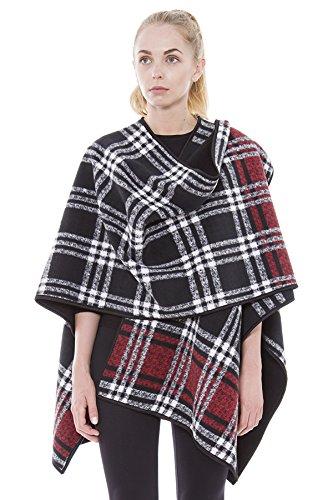 (BYOS Women Winter Reversible Plaid to Black Warm Fleece Open Front Poncho Ruana Wrap Travel Blanket (Black Red Plaid))