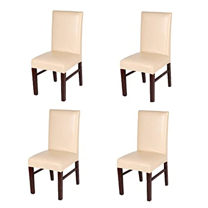 Surprising Flyparty Stretch Solid Pu Leather Waterproof Dining Chair Cover Slipcover Removable Washable Short Dining Chair Cover Protector Seat Solid Slipcovers Machost Co Dining Chair Design Ideas Machostcouk