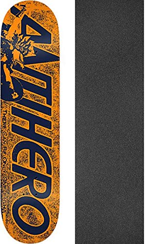 Anti Hero Skateboards Highlander Hero Orange Skateboard Deck Bundle of 2 Items 8.5 x 32.2 with Mob Grip Perforated Black Griptape