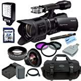 Sony NEX-VG30 Interchangeable Lens HD Handycam Camcorder With 18-200mm Lens + Essential Kit: Includes - High Definition Wide Angle Lens, HD Telephoto Lens, 3 Piece Filter Kit, Replacement Battery, Travel Charger, Pro Carrying Case, HDMI Cable, 16gb High Speed SDHC Memory Card & Reader, Cleaning Pen and CS Microfiber Cleaning Cloth