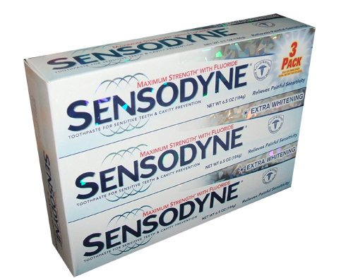 Sensodyne Dentifrice pour dents sensibles et la prévention de la cavité, Strenth maximum, 6,5 oz (3 pièces)