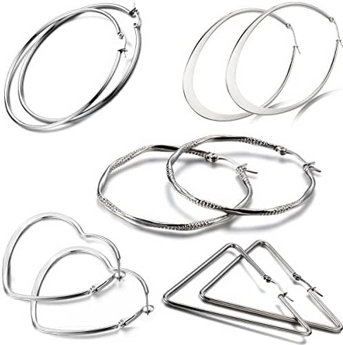 Aroncent 10PCS Womens Silver Stainless Steel Large Loop Hoop Hinged Earrings Set Mother's Day Gift
