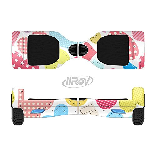 The Fun Colored Heart Patches Full-Body Wrap Skin Kit for the iiRov HoverBoards and other Scooter (HOVERBOARD NOT INCLUDED)