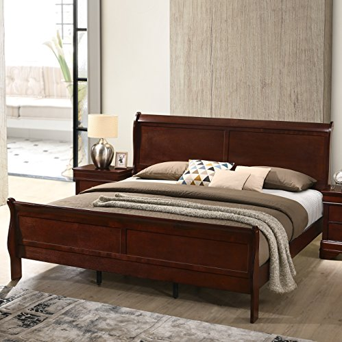 Roundhill Furniture Isola Louis Philippe Style Wood Sleigh Bed, King, Cherry Finish