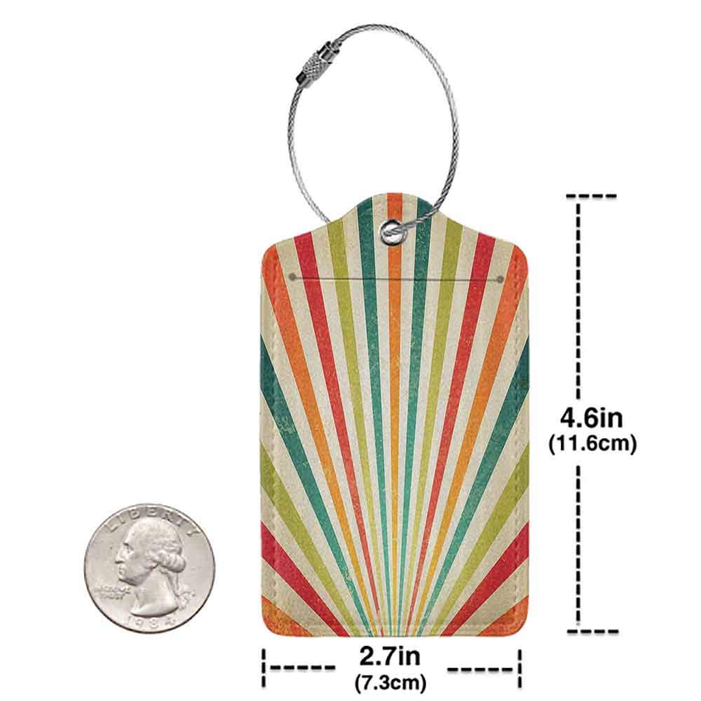 Multi-patterned luggage tag Vintage Decor Collection Vintage Multicolor Lines Rising over Sun and Rainbow on Retro Background Festival Graphic Double-sided printing Multi W2.7 x L4.6