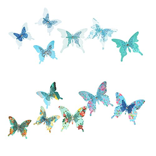 terflies⎮Decorative Artificial Butterfly Clips⎮Silk Fabric Butterfly Decorations⎮Floral Butterflies⎮Handmade Vintage Ornament⎮Home Party Garden Outdoor Decor Blue Teal (Pack of 12) ()