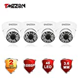 TMEZON 4 Pack 2.0MP HD-TVI 1080P Outdoor Turbo High Resolution Dome Camera 3.6mm Fixed Lens 1080P 48IR, Work With HD-TVI (1920×1080)