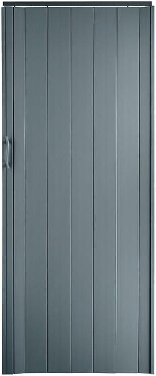 Puerta corredera plegable, color gris, altura 202 cm, ancho de montaje hasta 71 cm, perfil de doble pared: Amazon.es: Bricolaje y herramientas