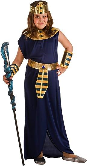 El Rey del Carnaval Disfraz de Faraona Azul para niña: Amazon.es ...