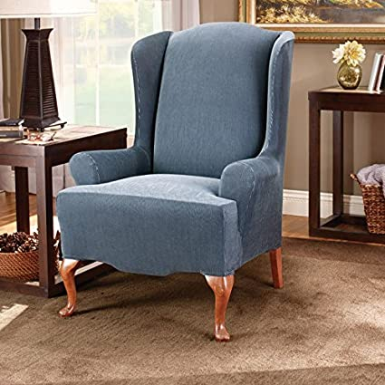 Stretch Stripe Wing Chair Cover