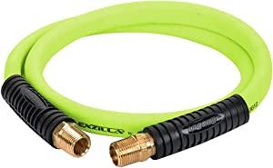 Flexzilla Swivel Whip Air Hose, 1/2 in. x 4 ft. (1/2 in. MNPT Swivel x 1/2 in. MNPT Ends), Heavy Duty, Lightweight, Hybrid, ZillaGreen - HFZ1204YW4S