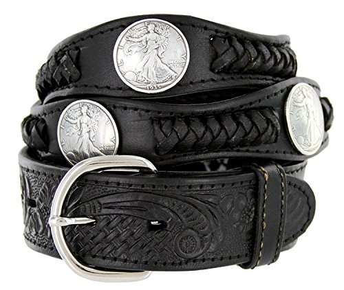 Walking Liberty Memorial Coin Concho Western Embossed Leather Belt (38 Black)
