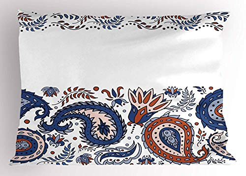 (K0k2t0 Indian Pillow Sham, Eastern Filigree with Flower Indian Esoteric Spiritual Blooms Print, Decorative Standard Queen Size Printed Pillowcase, 30 X 20 inches, Blue Red)
