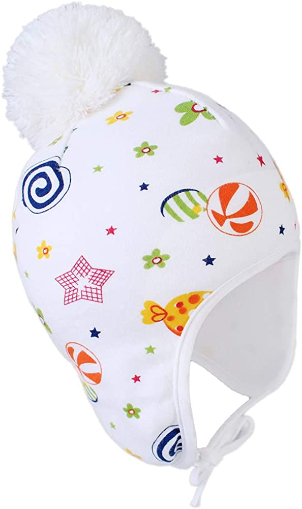 Infant Toddler Warm Fleece Pom Pom Hat Skull Cap with String Baby Winter Hat with Ear Flaps
