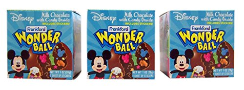 Disney Character Milk Chocolate Wonderball Surprise Egg with Candy, 1 oz (Pack of 3) -