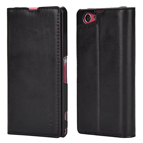 Sony Z1 Compact Case,Mulbess PU Leather Wallet Case with Kick Stand for Sony Xperia Z1 Compact,Black