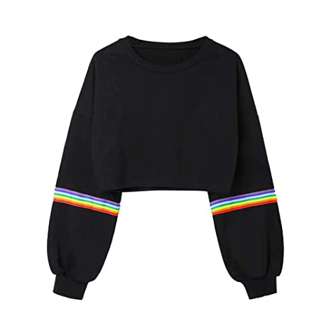 Amazon.com: lotus.flower 2018 Womens Long Sleeve Striped Crop Short Sweatshirt Jumper Black Pullover Top (2XL, Black): Beauty