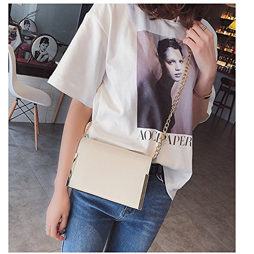 Chain Simple Cuadrado Fashion I Messenger Bolso white Pequeño Rrock Bandolera White Bolso Wild H1qBx