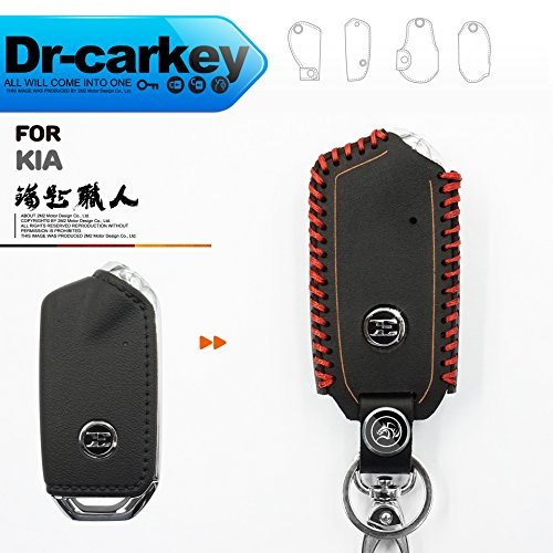 (LLeather Key fob Holder Case Chain Cover FIT For KIA STINGER LKI06-06-001)