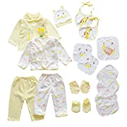 18pcs Unisex Newborn Baby Boy Girl Clothes Sets, 0-6 Months Infant Outfits, Essentials Accessories (Yellow)