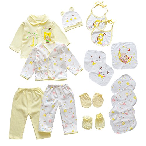 Infant Layette (18pcs Unisex Newborn Baby Boy Girl Clothes Sets, 0-6 Months Infant Outfits, Essentials Accessories (Yellow))