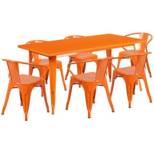 Flash Furniture 31.5'' x 63'' Rectangular Orange Metal Indoor-Outdoor Table Set with 6 Arm (Juniper Powder Coat)
