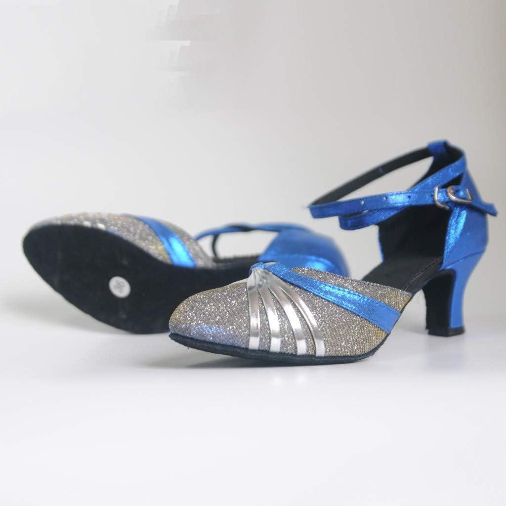 Amlaiworld Ladies Mid-High Heels Glitter Dance Shoes Women Ballroom Latin Tango Rumba Dance Shoes Wedding Sandals Dress Shoes