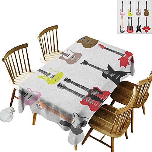 kangkaishi Easy to Care for Leakproof and Durable Long tablecloths Outdoor Picnic Graphic Collection of Guitars Colorful Stringed Instruments Fretboard Rock Blues W70 x L120 Inch Multicolor ()