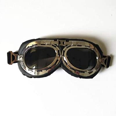 scooter Retro Aviator Pilot Vintage Goggles for Motorcycle Cruiser Cafe Harley (Grey Black): Sports & Outdoors