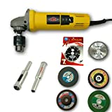 TOOLS CENTRE 2 IN 1 ANGLE GRINDER / DRILL MACHINE ,CAN BE USED AS AN ANGLE GRINDER & AS DRILL MACHINE WITH FREE 10MM DIAMOND BIT + 6PCS GRINDING COMBO WHEELS FOR VARIOUS APPLICATIONS.