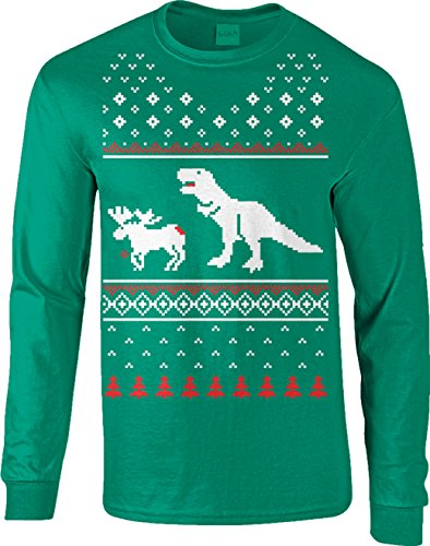 Crazy Dog TShirts - T-Rex Attack Moose Long Sleeve Ugly Sweater Funny Christmas Shirt - herren -