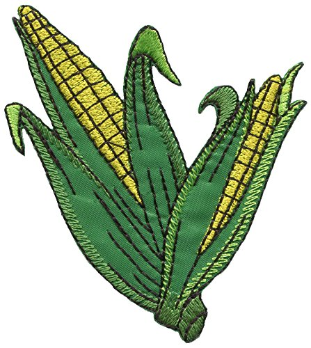 (Corn on the cob maize veggies vegan vegetarian embroidered applique iron-on patch S-1450 )