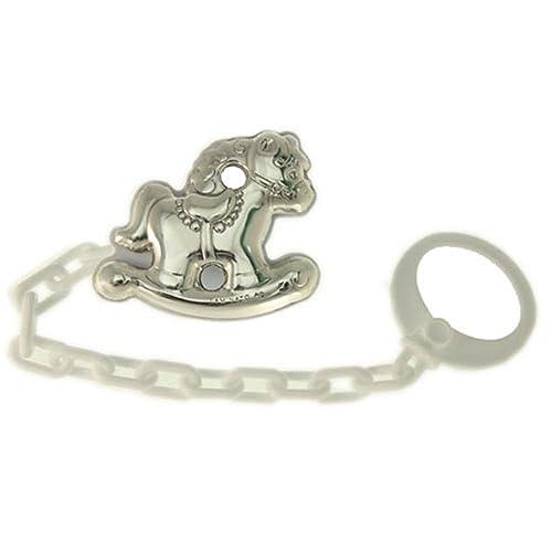 Pinza infantil de chupete con forma de caballo en plata bilamina