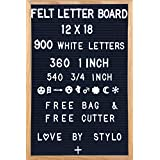 Felt Letter Board 12 x18 Inches. 900 Changeable Characters Including 1 inch and ¾ Letters, Symbols, Emojis Hashtag and More | Hook to Hang | 1 Canvas Storage Pouch by STYL0