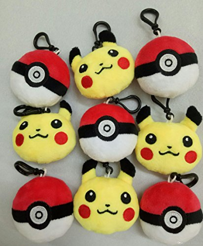 24 Pokemon Plush Toys Party Favor Lot - 12 Pikachu and 12 Pokeball Hangers/Keychains