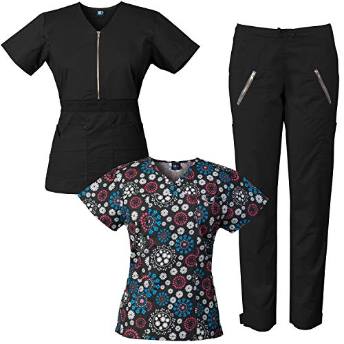 Waistband Printed (Medgear Stretch Scrubs Set with Printed Top Combo, Half Zipper with Color-Block Waistband (Black/FFRB, M))