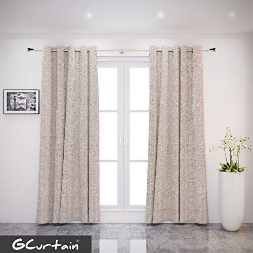 (GCurtain Twill 52 inch Wide with 8 Grommets Classic Window Curtains/Panels/Drapes, Set of 1 Panel (Beige Brown + Chrome, 52
