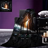 smallbeefly Outer Space Weave Pattern Extra Long Blanket Scenery of Planets from the Window of a Shuttle Bodies Astronaut Space Station Custom Design Cozy Flannel Blanket Gray Orange