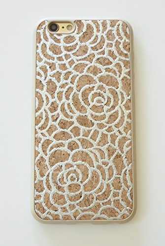 Silver Camellia Flower Designer Wood Cork TPU Phone Cover Case For Apple iPhone 6 / 6s 4.7 inch (AT&T, Boost Mobile, Cricket, MetroPCS, Sprint, T-Mobile, US Cellula, Verizon Wireless, Virgin (Wood Phone Faceplates)