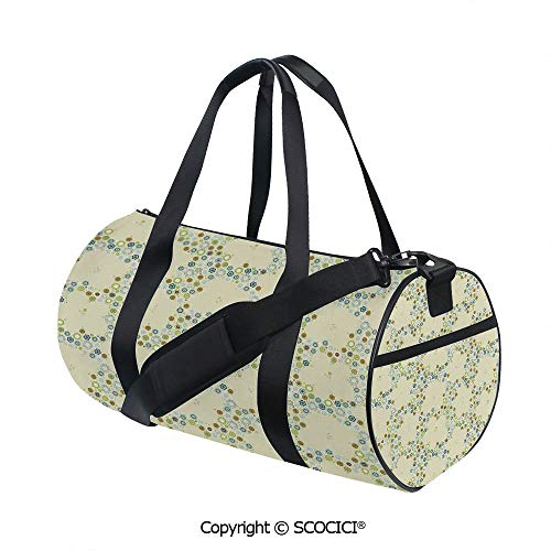 Nylon Ribbon Sports Backpack,Ornament of Decorative Medallion Shapes Bordered with Small WildflowersEasy to Carry,(17.6 x 9 x 9 - Medallion Seat Anchor