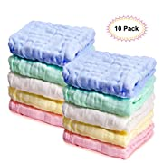Kyapoo Baby Muslin Washcloths Natural Purified Cotton Baby Wipes Soft Newborn Baby Face Towel Baby Shower Gift 10 Pack