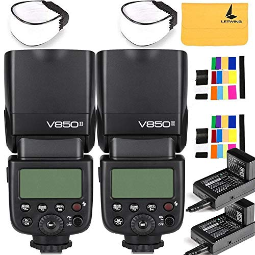 GODOX V850II GN60 2.4G 1/8000s HSS 2X Camera Flash Speedlight with 2000mAh Li-ion Battery Features 1.5s Recycle time and 650 Full Power Pops Compatible Canon Nikon Pentax Olympas
