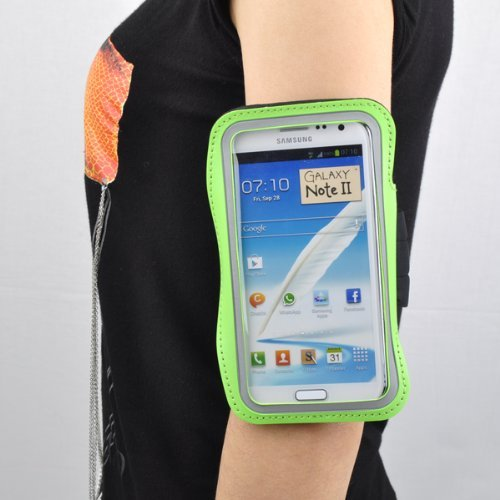 Neewer Workout Running Sports Armband Gym Band Case Pouch Exercise Case for Samsung Galaxy Note 2 II N7100 (Green)