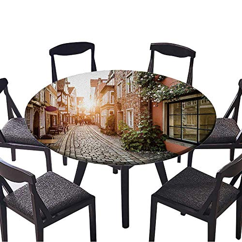 (Round Premium Table Cloth Historic Schnoorviertel at Sunset in Bremen,Germany Perfect for Indoor, Outdoor 55