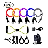 BIAL Resistance Bands Set with Door Anchor, 12 PCS Exercise Bands Includes Exercise Chart with Carrying Bag Perfect for Any Home Fitness Training – Workout Abs, Arms, Legs and Back Review