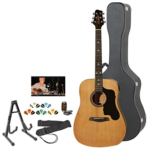 Sawtooth ST-ADN-KIT-2 Acoustic Guitar with Black Pickguard - Includes Accessories, Hard Case & Online Lesson by Sawtooth