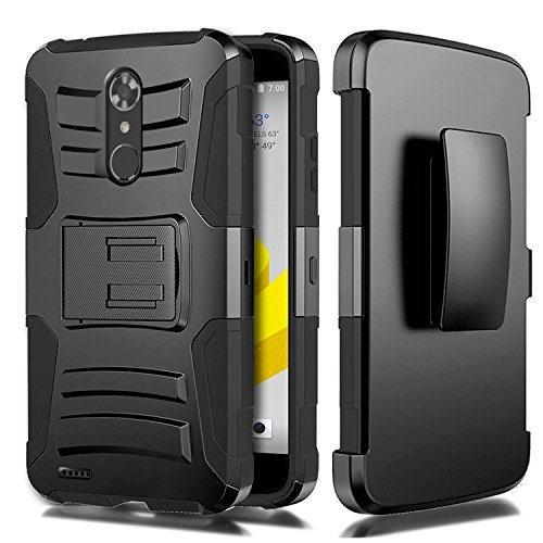 ZTE N9560 Case, HJ Power[TM] For ZTE Max XL N9560/ZMax Pro Z981/Blade X Max Z983/Max Blue/Blade Max 3 Z986 (Virgin Mobile, Boost Mobile)--Hybrid H Stand Holster Case Black (Window Phones For Boost Mobile)